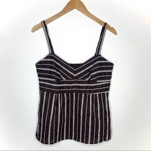 Ann Taylor Loft Brown Embroidered Tank